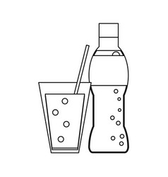 soda bottle and cup with straw black and white vector image
