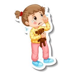 Sticker template with a little girl crying vector