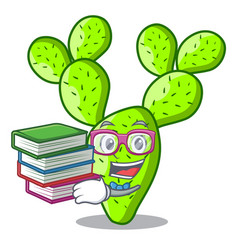 Student with book cartoon the prickly pear opuntia vector