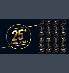 Stylish golden anniversary emblem big set vector