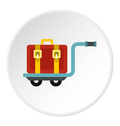 Suitcase on a cart icon circle vector