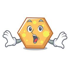 surprised hexagon mascot cartoon style vector image