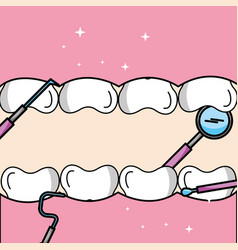 Tooth and gum inside mouth tools oral hygiene vector