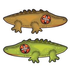 Two handmade soft toys crocodile animal vector image