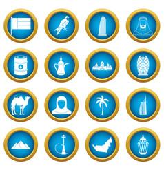 Uae travel icons blue circle set vector