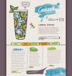 Website cocktail design template vector image