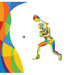 Woman squash player abstract colorful vector