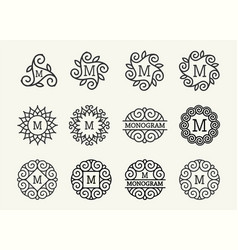 wonderful set style art nouveau round elegant vector image