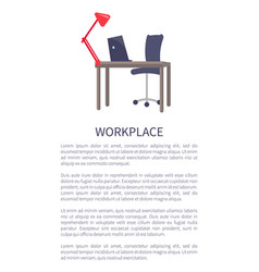 workplace design table with computer laptop chair vector image