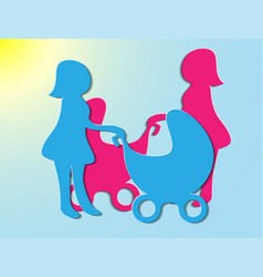 Young mother walking with a newborn vector
