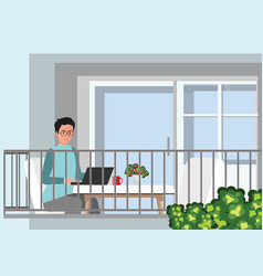 young professional man working from home at his vector image