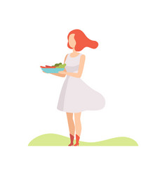young woman holding a bowl of vegetables and vector image