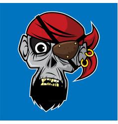 Zombie head - pirate zombie vector