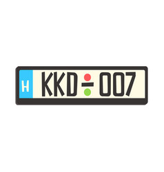Car registration number plate colorful cartoon vector