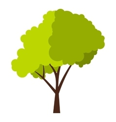 Green tree with fluffy crown icon flat style vector image