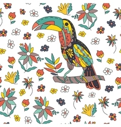 Seamless pattern with bird and flowers Toucan vector image