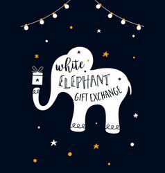 white elephant gift exchange game vector image vector image