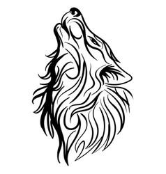 wolf head howl design tribal tattoo vector image vector image