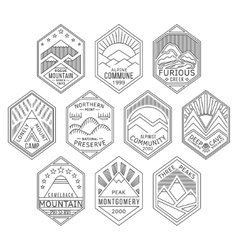 Mountain badges linear 1 vector image vector image