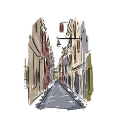 Sketch of old spanish street for your design vector image vector image