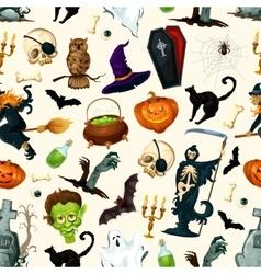 Halloween party symbols pattern vector image vector image