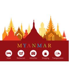 myanmar landmarks skyline with accommodation icons vector image vector image
