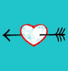 red heart with black arrow vector image vector image