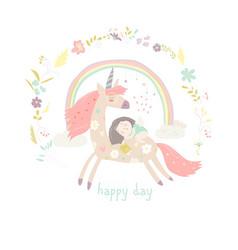 cute cartoon girl with unicorn vector image