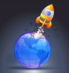 Rocket moving through the Earth vector image vector image