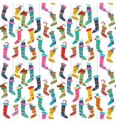 Seamless pattern with Santa socks vector image vector image
