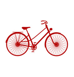 silhouette of vintage bicycle in red design vector image vector image