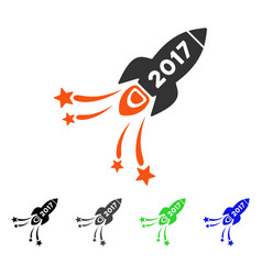 2017 rocket flat icon vector