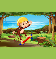 a monkey playing skateboard th nature vector image