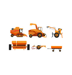 Agricultural machinery set farm vehicles for land vector