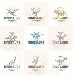 Amusement park prehistoric dinosaurs abstract vector