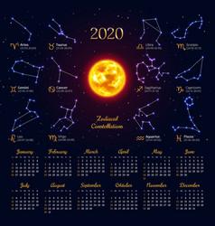 Astrology calendar for 2020 year vector