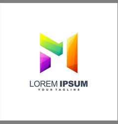 awesome letter m logo design vector image