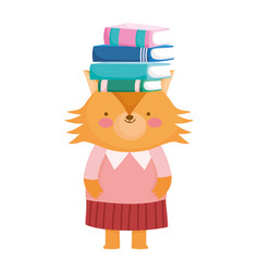 Back to school education cute fox and books on vector