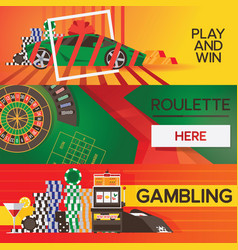 Banners with casino gambling elements vector
