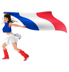 beautiful young woman in sport uniform holds flag vector image