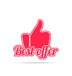 best offer label red color isolated on white vector image