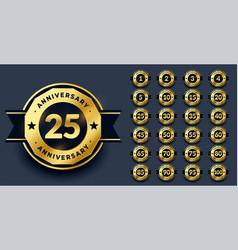 big anniversary labels set in golden color vector image