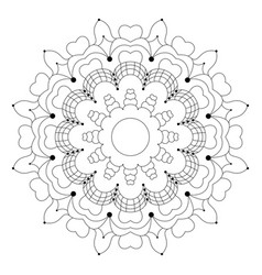 black and white circular flower mandala vector image