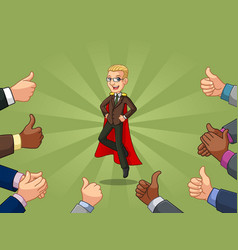 Blonde superhero businessman in brown suit vector