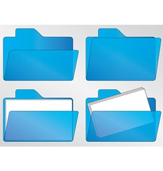 blue folder icons vector image