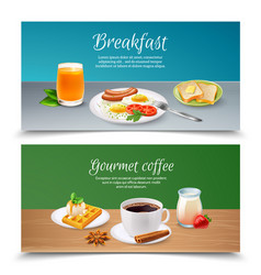 breakfast realistic banners set vector image