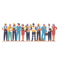 building workers and engineers cartoon characters vector image