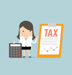 businesswoman standing with tax document vector image