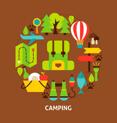 camping colorful postcard vector image
