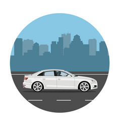 car on city background vector image
